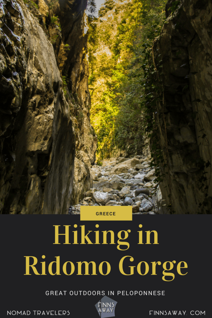 Messina region in Peloponnese offers great hiking destinations, like Ridomo Gorge, a narrow canyon near Kalamata, in the middle of mountain wilderness. | FinnsAway travel blog