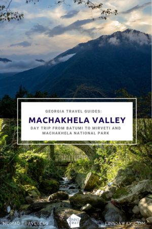How to make a day trip from Batumi to Machakhela National Park and Makhakhela Gun Road. Hiking routes and sights like waterfalls, arched stone bridges and fortress ruins in Makhakhela River valley. | FinnsAway Travel Blog