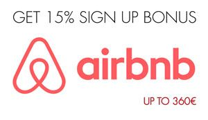 Get now 15% Airbnb sign up bonus