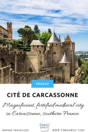 Citadel of Carcassonne is a huge medieval city fortification with double walls and 52 towers. Short history and tips for planning your visit.   FinnsAway Travel Blog