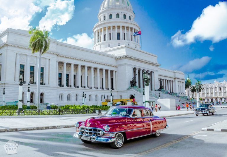 El Capitolio and classic American cars are symbols of Havana. | Pictures from Havana | FinnsAway Travel Blog