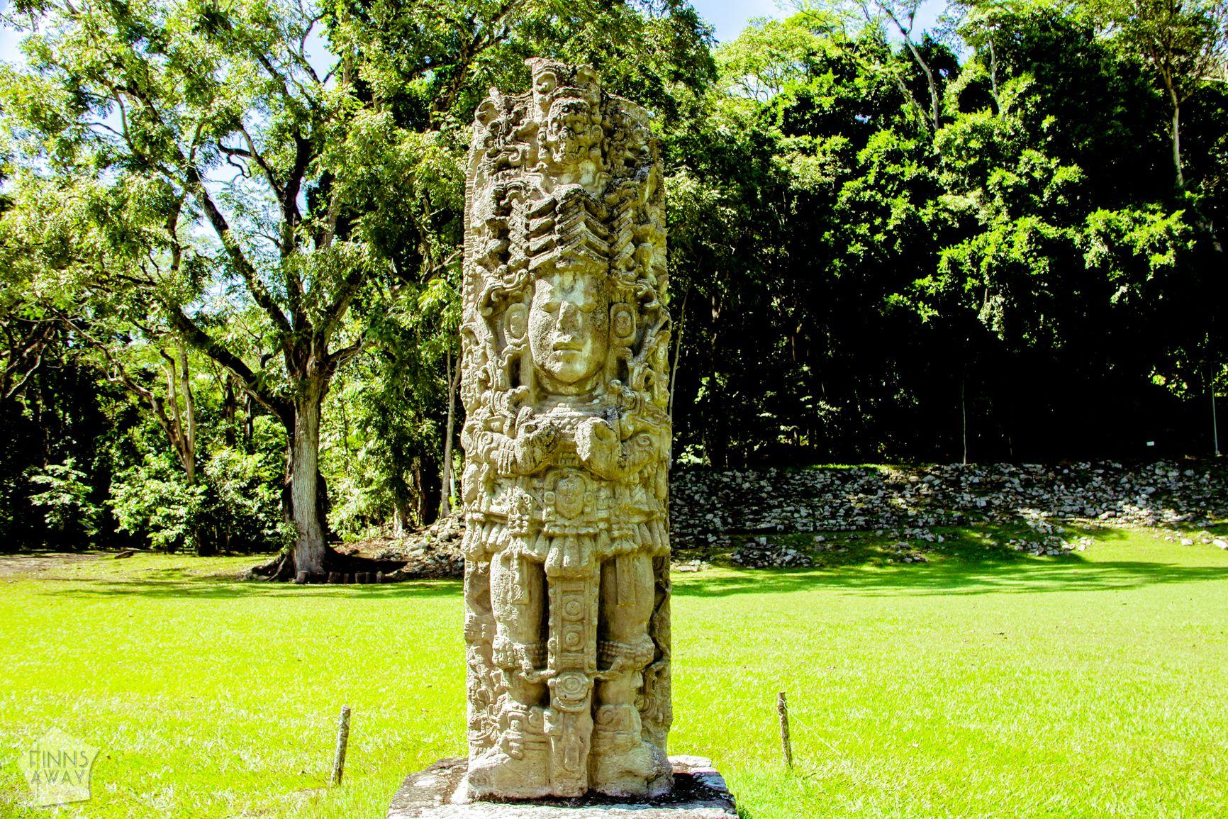 Stelae in Copan Mayan ruins, Honduras | FinnsAway Travel Blog