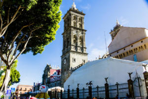 Bell tower of  the Cathedral of Puebla | Mexico | FinnsAway Travel Blog