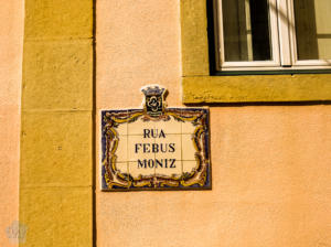 Street sign in historical center of Oeiras